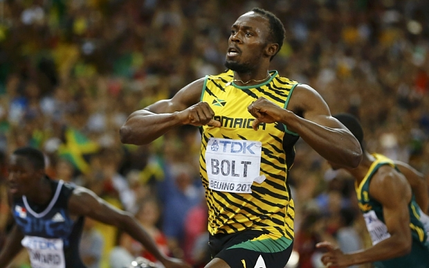 Usain Bolt celebrates winning 200M gold in 2015 IAAF World Championships